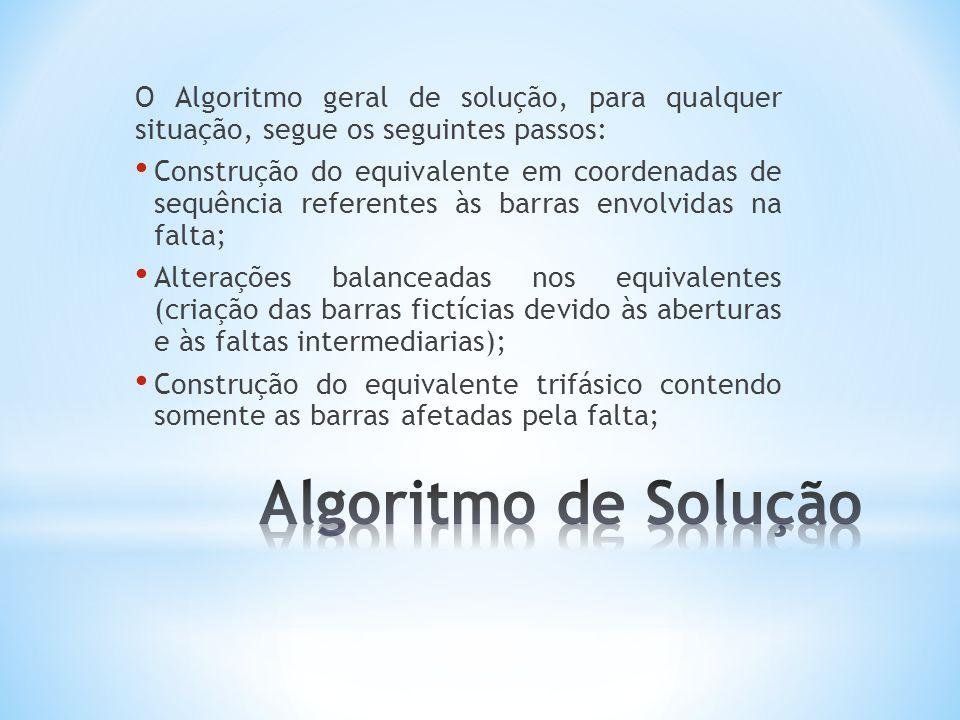 O Algoritmo geral de solução, para qualquer situação, segue os seguintes passos: Construção do equivalente em coordenadas de sequência referentes às b