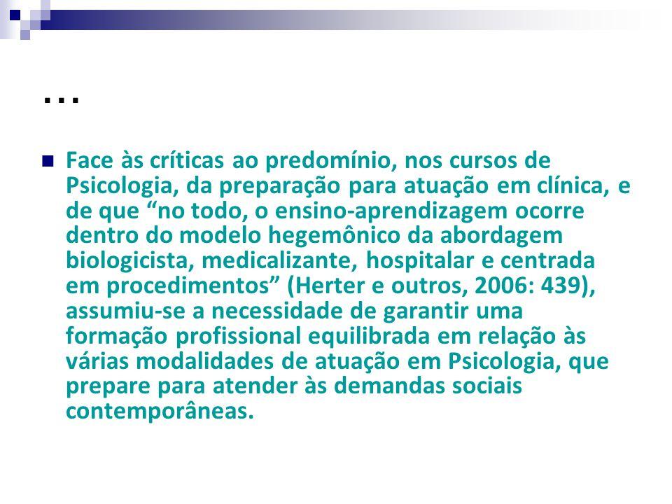 """... Face às críticas ao predomínio, nos cursos de Psicologia, da preparação para atuação em clínica, e de que """"no todo, o ensino-aprendizagem ocorre d"""