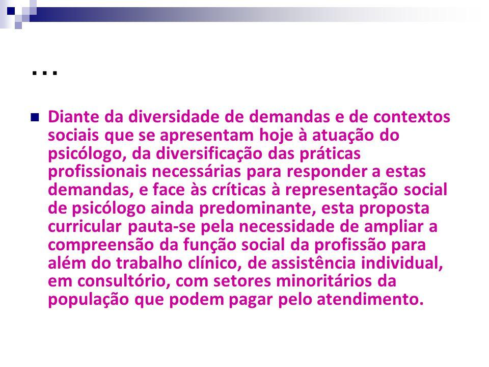 ... Diante da diversidade de demandas e de contextos sociais que se apresentam hoje à atuação do psicólogo, da diversificação das práticas profissiona