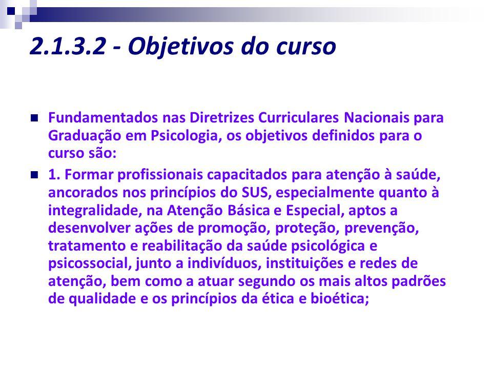 2.1.3.2 - Objetivos do curso Fundamentados nas Diretrizes Curriculares Nacionais para Graduação em Psicologia, os objetivos definidos para o curso são
