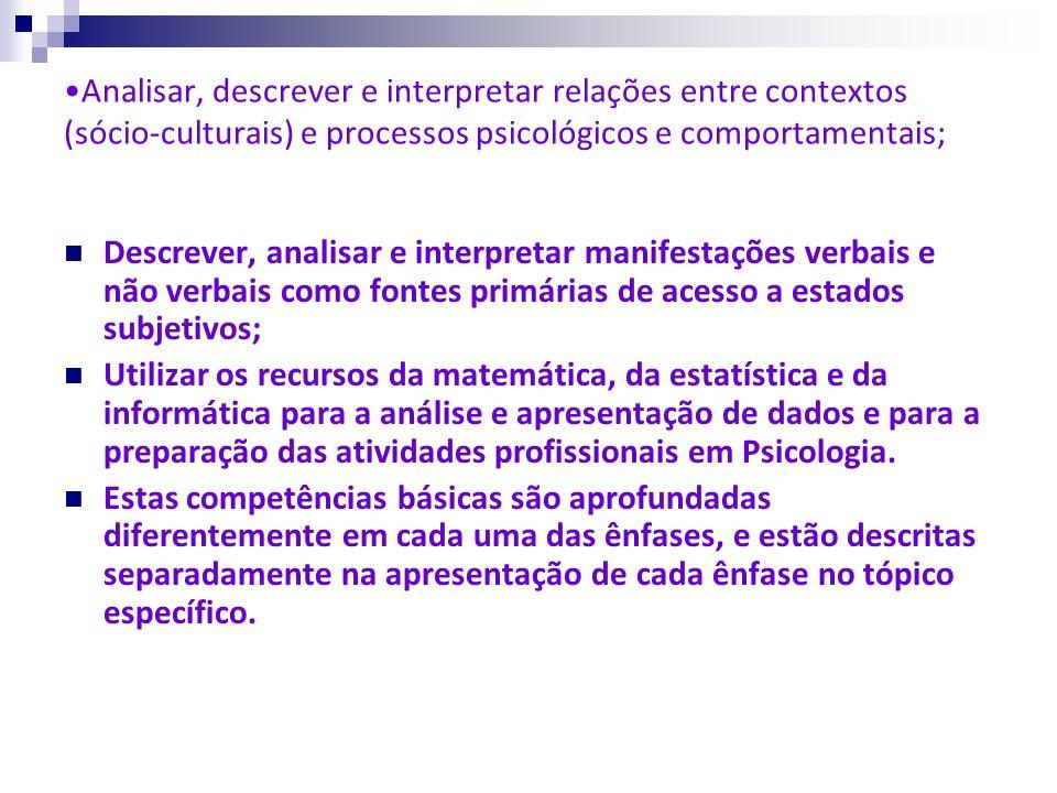 Analisar, descrever e interpretar relações entre contextos (sócio-culturais) e processos psicológicos e comportamentais; Descrever, analisar e interpr