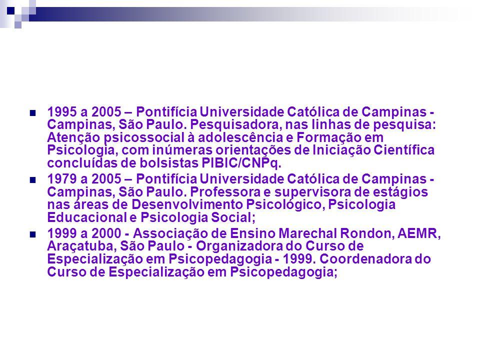 1995 a 2005 – Pontifícia Universidade Católica de Campinas - Campinas, São Paulo. Pesquisadora, nas linhas de pesquisa: Atenção psicossocial à adolesc