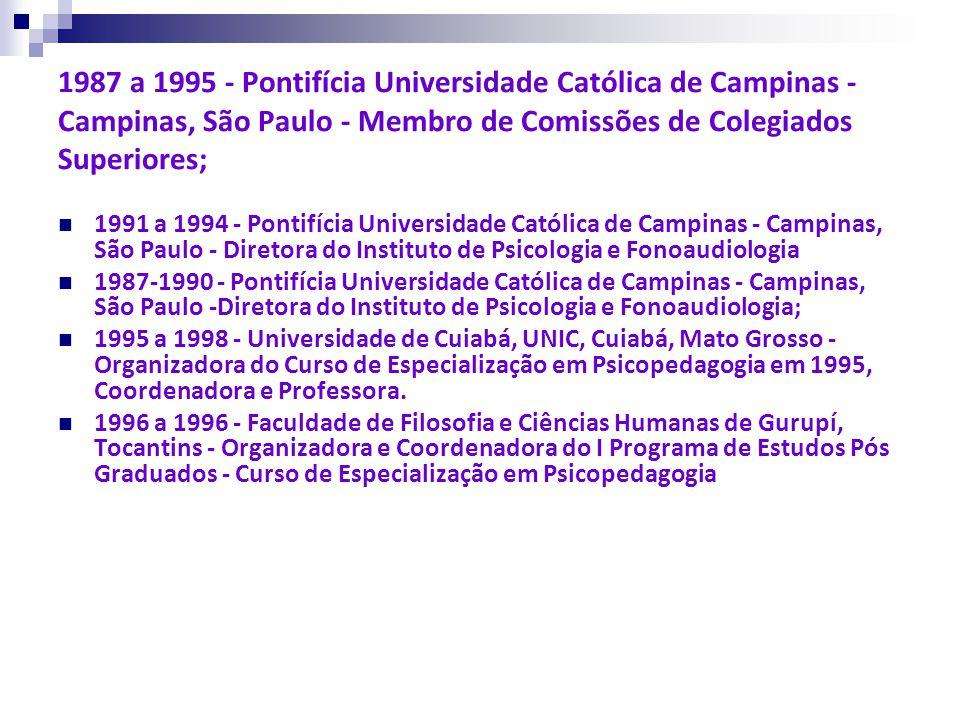 1987 a 1995 - Pontifícia Universidade Católica de Campinas - Campinas, São Paulo - Membro de Comissões de Colegiados Superiores; 1991 a 1994 - Pontifí