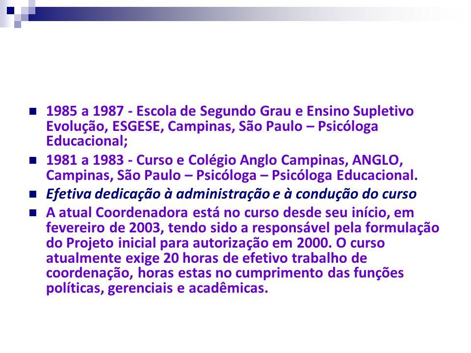 1985 a 1987 - Escola de Segundo Grau e Ensino Supletivo Evolução, ESGESE, Campinas, São Paulo – Psicóloga Educacional; 1981 a 1983 - Curso e Colégio A
