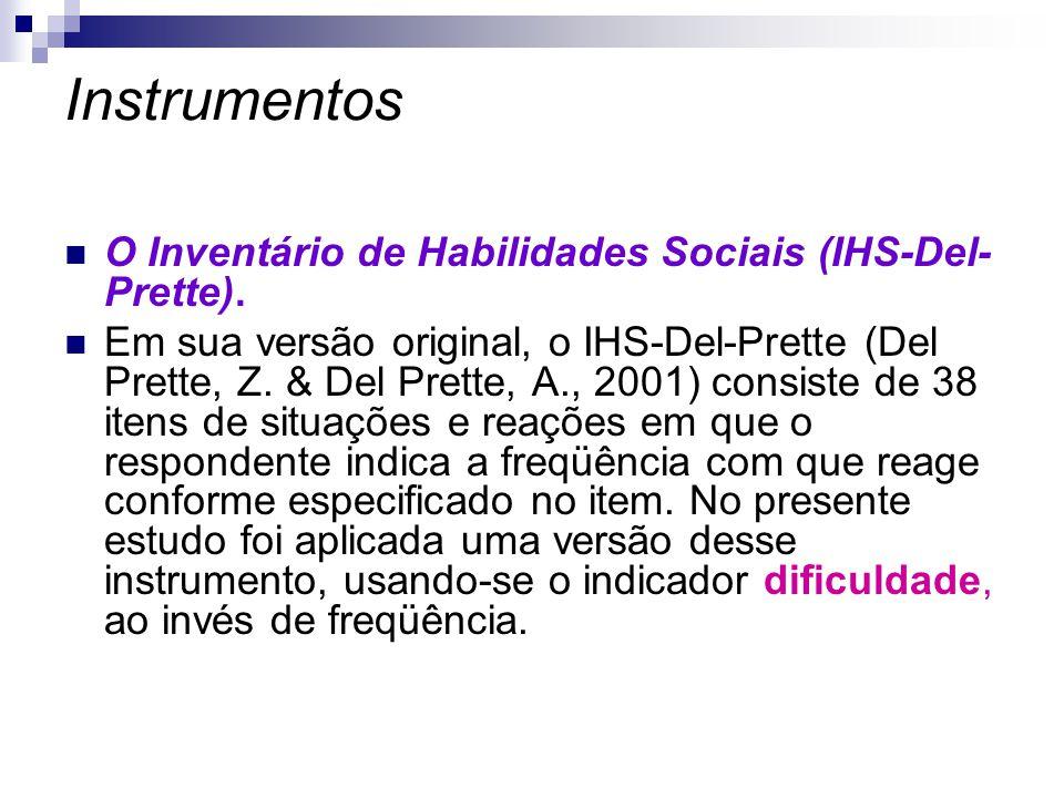 Instrumentos O Inventário de Habilidades Sociais (IHS-Del- Prette). Em sua versão original, o IHS-Del-Prette (Del Prette, Z. & Del Prette, A., 2001) c