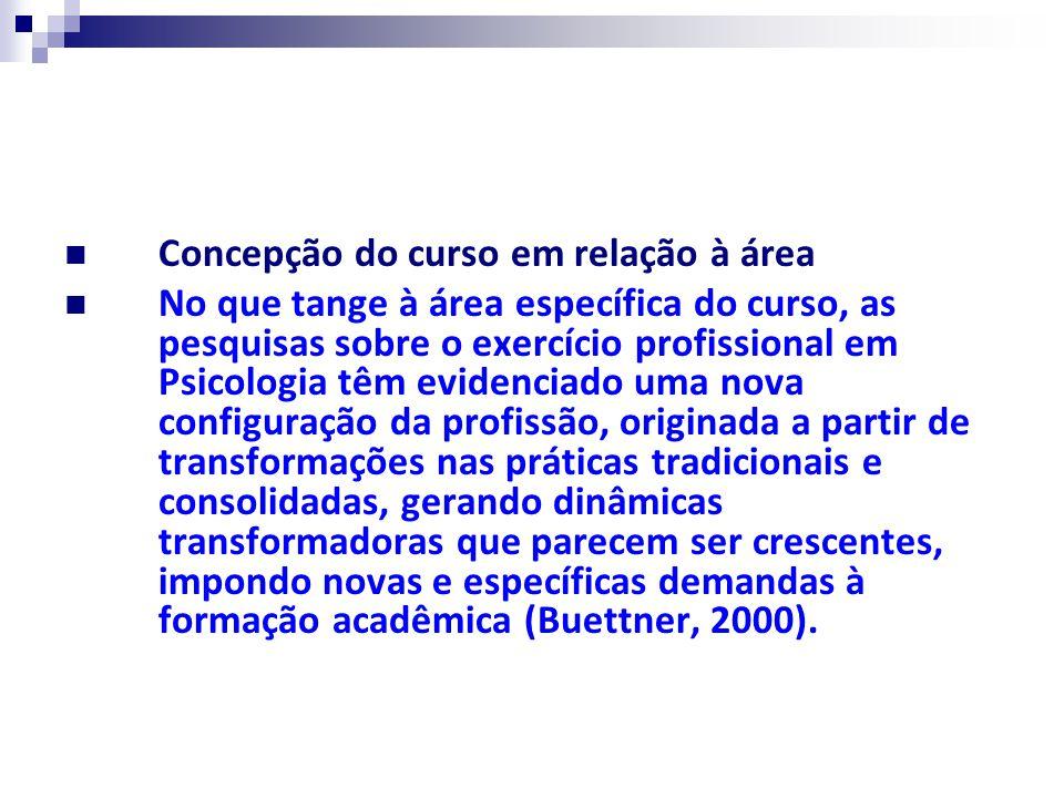 Concepção do curso em relação à área No que tange à área específica do curso, as pesquisas sobre o exercício profissional em Psicologia têm evidenciad