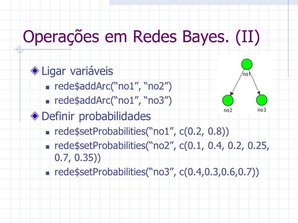 """Operações em Redes Bayes. (II) Ligar variáveis rede$addArc(""""no1"""", """"no2"""") rede$addArc(""""no1"""", """"no3"""") Definir probabilidades rede$setProbabilities(""""no1"""","""