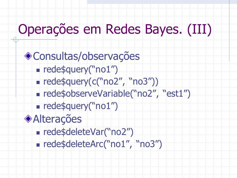 """Operações em Redes Bayes. (III) Consultas/observações rede$query(""""no1"""") rede$query(c(""""no2"""", """"no3"""")) rede$observeVariable(""""no2"""", """"est1"""") rede$query(""""no"""