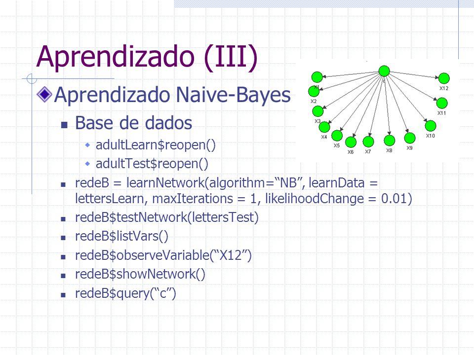 "Aprendizado (III) Aprendizado Naive-Bayes Base de dados  adultLearn$reopen()  adultTest$reopen() redeB = learnNetwork(algorithm=""NB"", learnData = le"