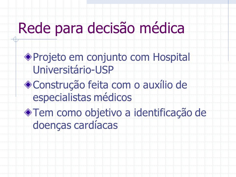 Rede para decisão médica Projeto em conjunto com Hospital Universitário-USP Construção feita com o auxílio de especialistas médicos Tem como objetivo