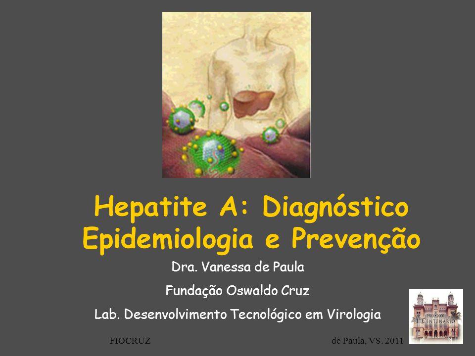 Hepatite A: Diagnóstico Epidemiologia e Prevenção Dra. Vanessa de Paula Fundação Oswaldo Cruz Lab. Desenvolvimento Tecnológico em Virologia FIOCRUZ de