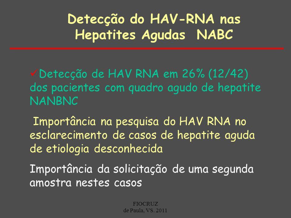 Detecção de HAV RNA em 26% (12/42) dos pacientes com quadro agudo de hepatite NANBNC Importância na pesquisa do HAV RNA no esclarecimento de casos de