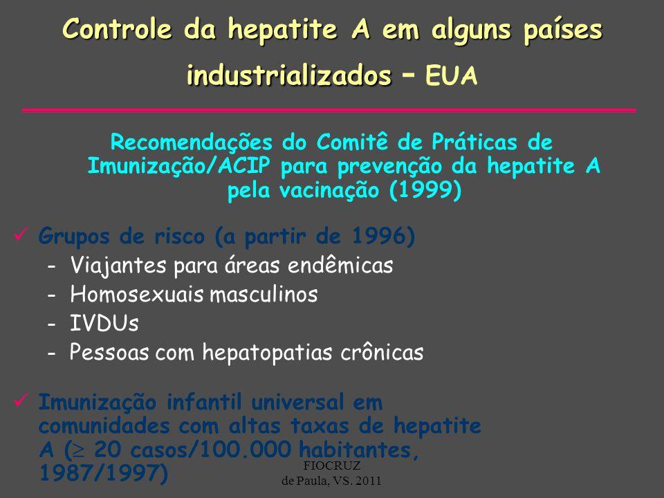 Controle da hepatite A em alguns países industrializados Controle da hepatite A em alguns países industrializados - EUA Recomendações do Comitê de Prá