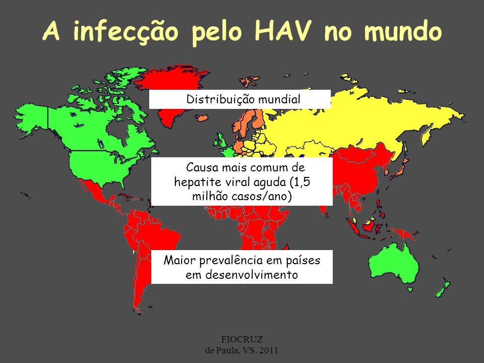 Prevalência de Anti-HAV Alta Intermediária Baixa Muito baixa A infecção pelo HAV no mundo Maior prevalência em países em desenvolvimento Distribuição