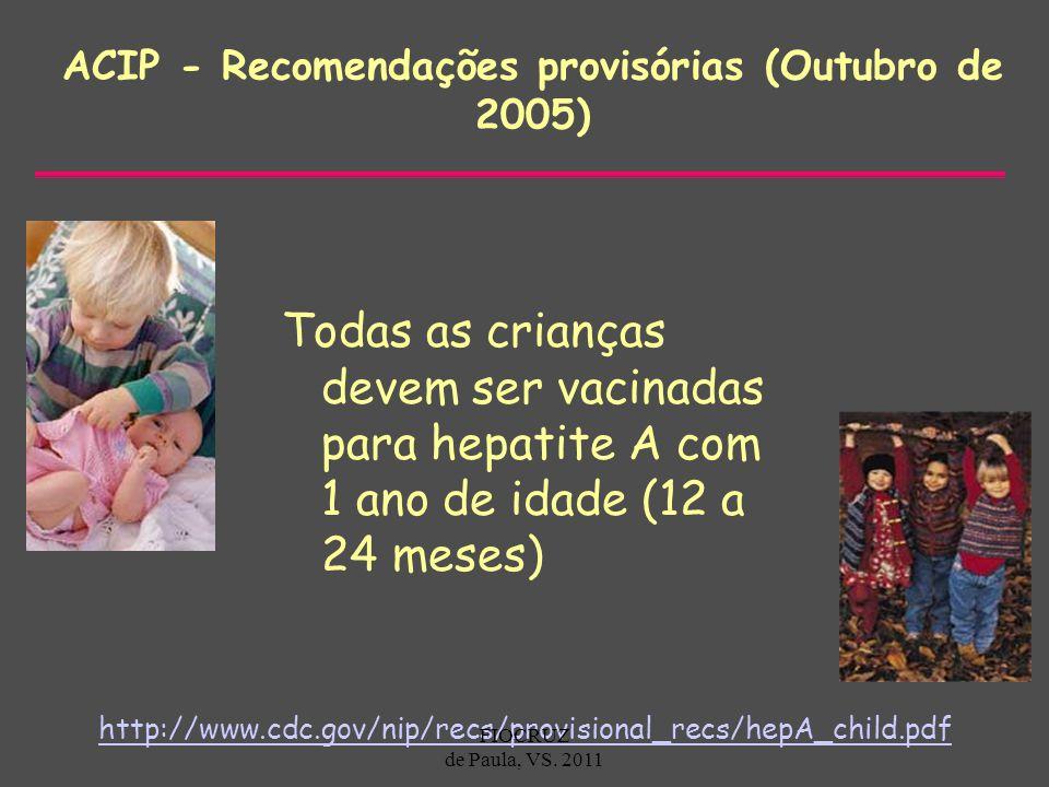 ACIP - Recomendações provisórias (Outubro de 2005) Todas as crianças devem ser vacinadas para hepatite A com 1 ano de idade (12 a 24 meses) http://www