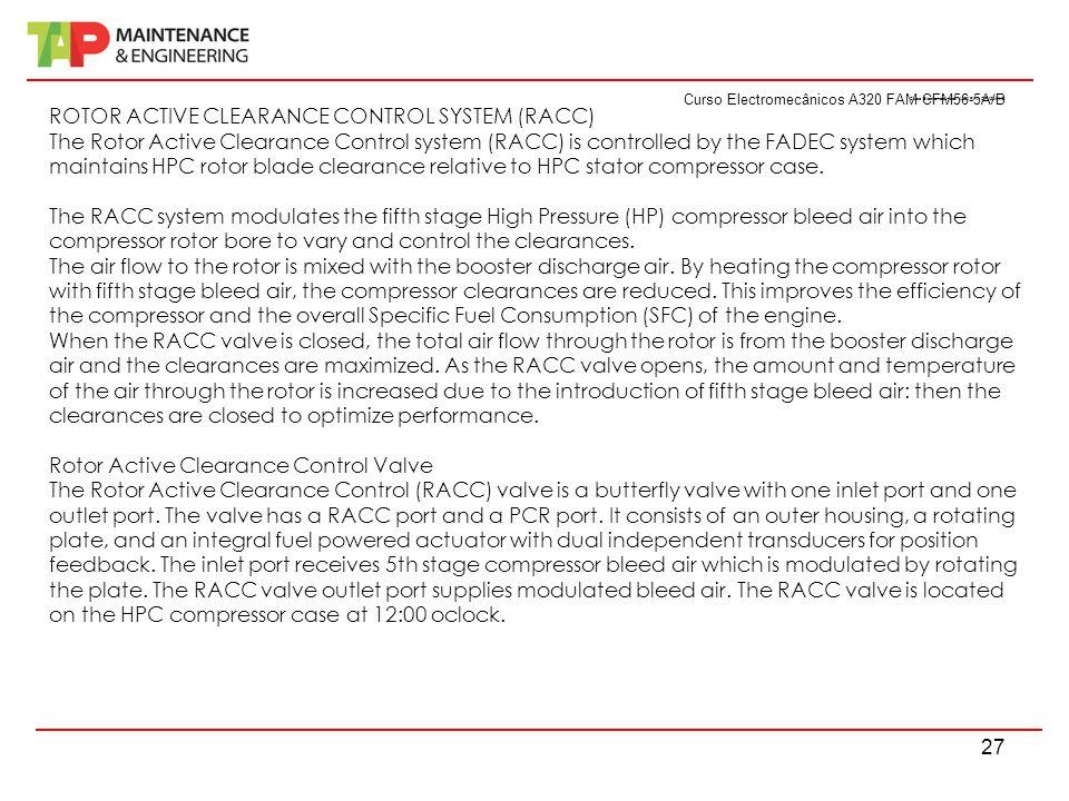 Curso Electromecânicos A320 FAM CFM56-5A/B 27 Curso Electromecânicos A320 FAM CFM56-5A/B ROTOR ACTIVE CLEARANCE CONTROL SYSTEM (RACC) The Rotor Active