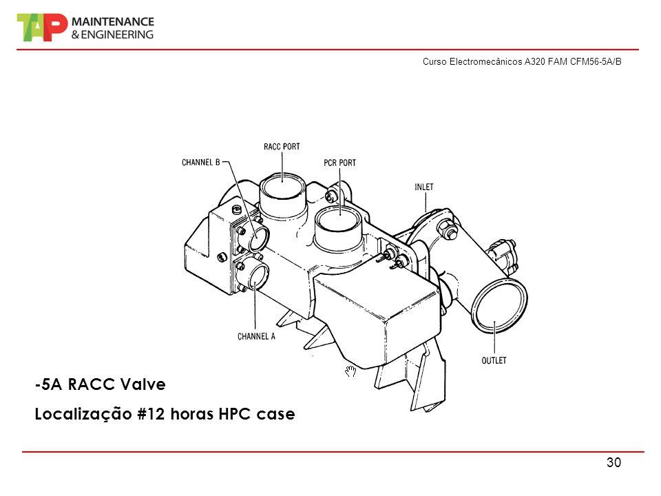Curso Electromecânicos A320 FAM CFM56-5A/B 30 -5A RACC Valve Localização #12 horas HPC case