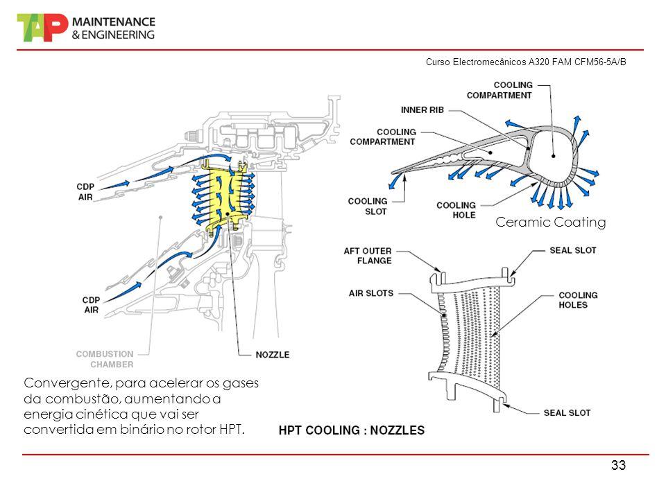 Curso Electromecânicos A320 FAM CFM56-5A/B 33 Convergente, para acelerar os gases da combustão, aumentando a energia cinética que vai ser convertida e