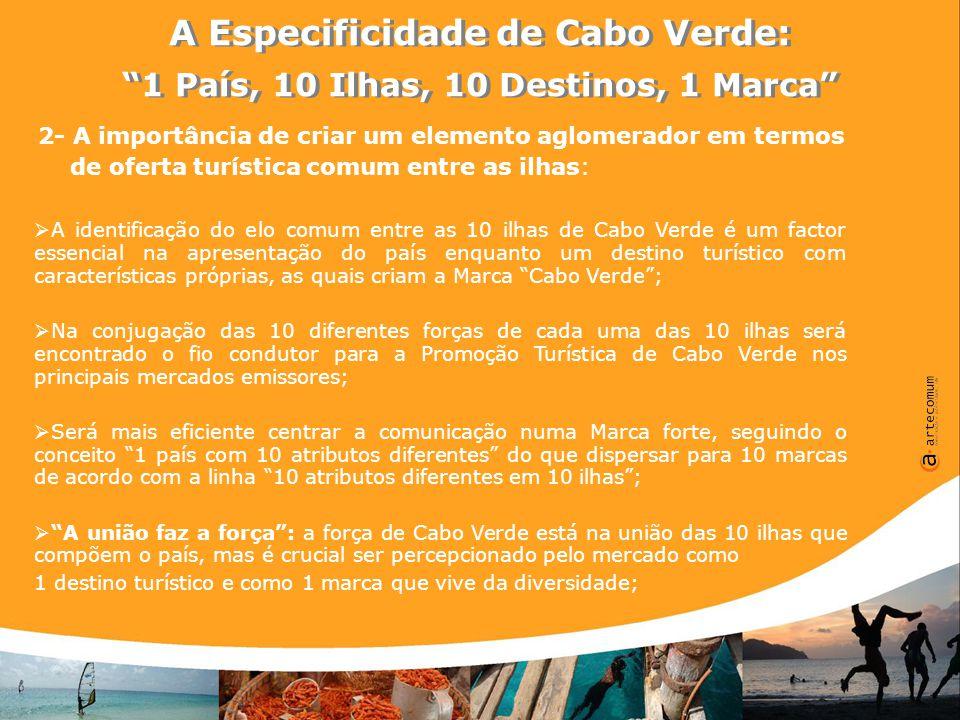 A Especificidade de Cabo Verde: 1 País, 10 Ilhas, 10 Destinos, 1 Marca A Especificidade de Cabo Verde: 1 País, 10 Ilhas, 10 Destinos, 1 Marca Uma visão para o posicionamento de Cabo Verde enquanto Destino Turístico no Contexto Mundial:  Tendo em conta o contexto mundial actual em termos de Turismo, há lugar para a afirmação dos países que conseguem ter diferentes pólos de atracção derivado ao facto de conseguirem atrair crescentemente mais interessados na sua oferta turística;  Cabo Verde deverá centrar-se nos mercados emissores com maior histórico (Portugal, Itália, Alemanha), mas deverá de forma continuada eleger gradualmente durante o período de implementação do Plano Estratégico (4 anos) mercados alternativos para desenvolver acções de Promoção;  A Marca Cabo Verde encerra em si uma polivalência que tem de ser utilizada como a sua maior riqueza, o seu factor de diferenciação face à concorrência;