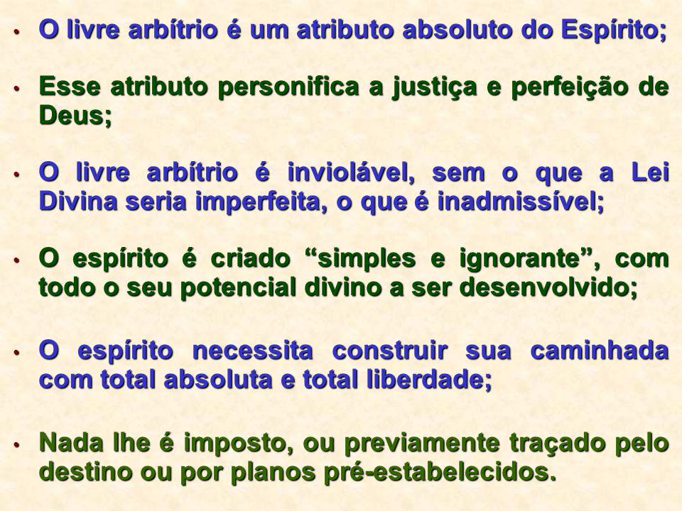 O livre arbítrio é um atributo absoluto do Espírito; O livre arbítrio é um atributo absoluto do Espírito; Esse atributo personifica a justiça e perfei