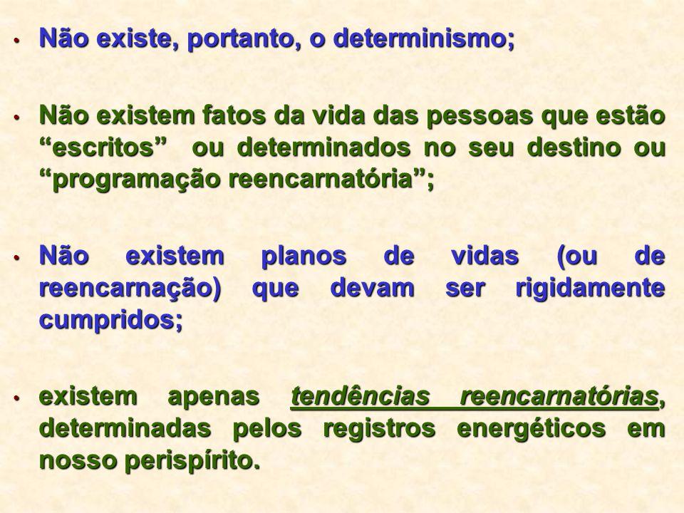 """Não existe, portanto, o determinismo; Não existe, portanto, o determinismo; Não existem fatos da vida das pessoas que estão """"escritos"""" ou determinados"""