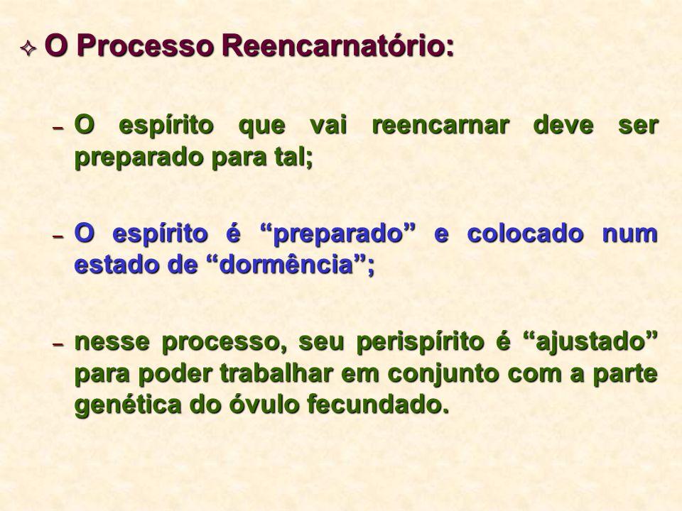 """ O Processo Reencarnatório: – O espírito que vai reencarnar deve ser preparado para tal; – O espírito é """"preparado"""" e colocado num estado de """"dormênc"""