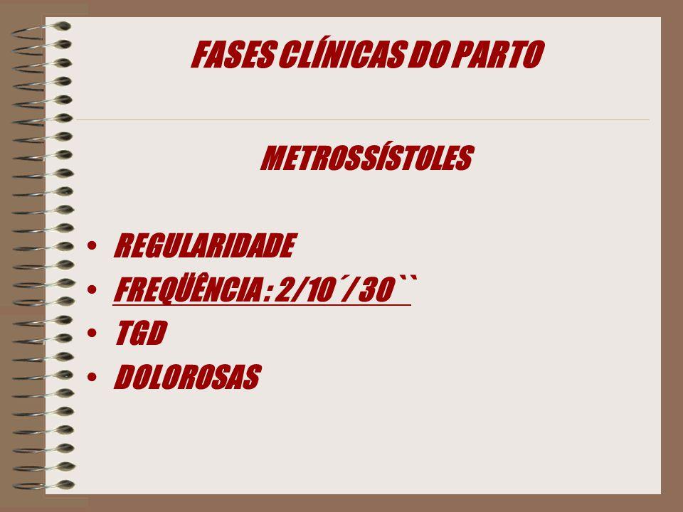 FASES CLÍNICAS DO PARTO METROSSÍSTOLES REGULARIDADE FREQÜÊNCIA : 2/10´/ 30`` TGD DOLOROSAS