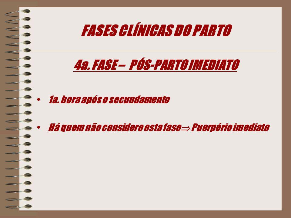 FASES CLÍNICAS DO PARTO 4a.FASE – PÓS-PARTO IMEDIATO 1a.