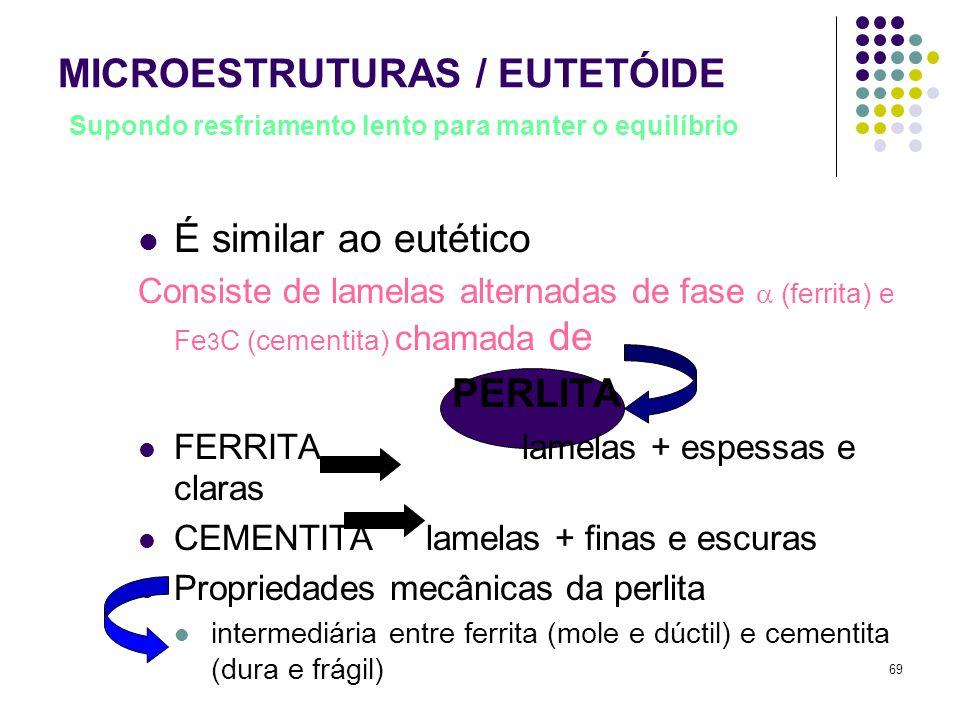 69 MICROESTRUTURAS / EUTETÓIDE Supondo resfriamento lento para manter o equilíbrio É similar ao eutético Consiste de lamelas alternadas de fase  (ferrita) e Fe 3 C (cementita) chamada de PERLITA FERRITA lamelas + espessas e claras CEMENTITA lamelas + finas e escuras Propriedades mecânicas da perlita intermediária entre ferrita (mole e dúctil) e cementita (dura e frágil)