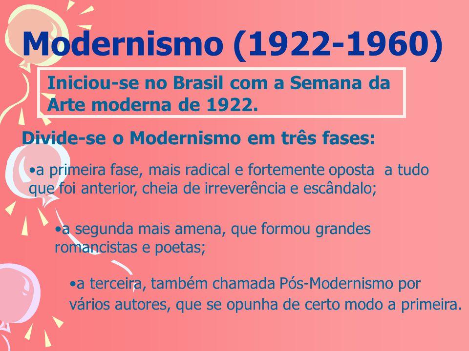 Modernismo (1922-1960) a terceira, também chamada Pós-Modernismo por vários autores, que se opunha de certo modo a primeira. Iniciou-se no Brasil com