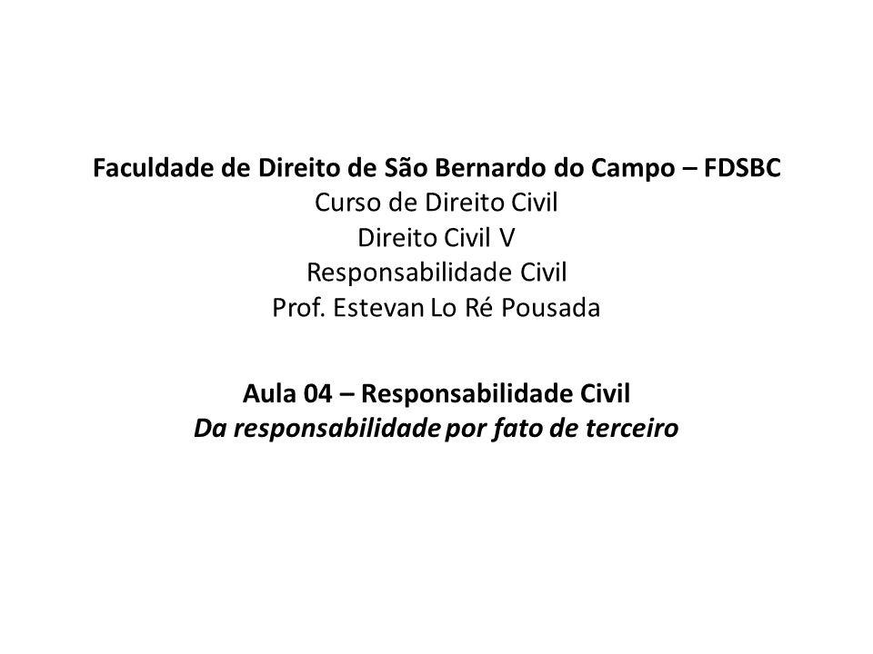 Aula 04 – Responsabilidade Civil Da responsabilidade por fato de terceiro A evolução, no direito brasileiro atual, da responsabilidade por fato de terceiro.