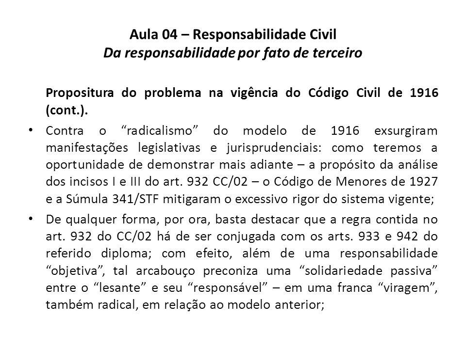 Aula 04 – Responsabilidade Civil Da responsabilidade por fato de terceiro Propositura do problema na vigência do Código Civil de 1916 (cont.). Contra