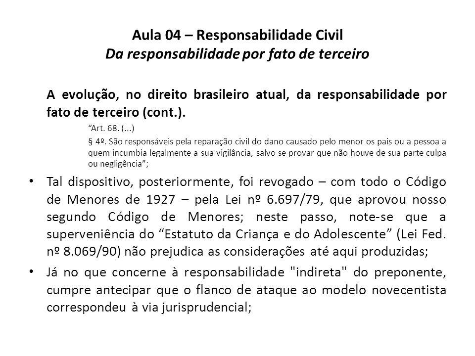 Aula 04 – Responsabilidade Civil Da responsabilidade por fato de terceiro A evolução, no direito brasileiro atual, da responsabilidade por fato de ter