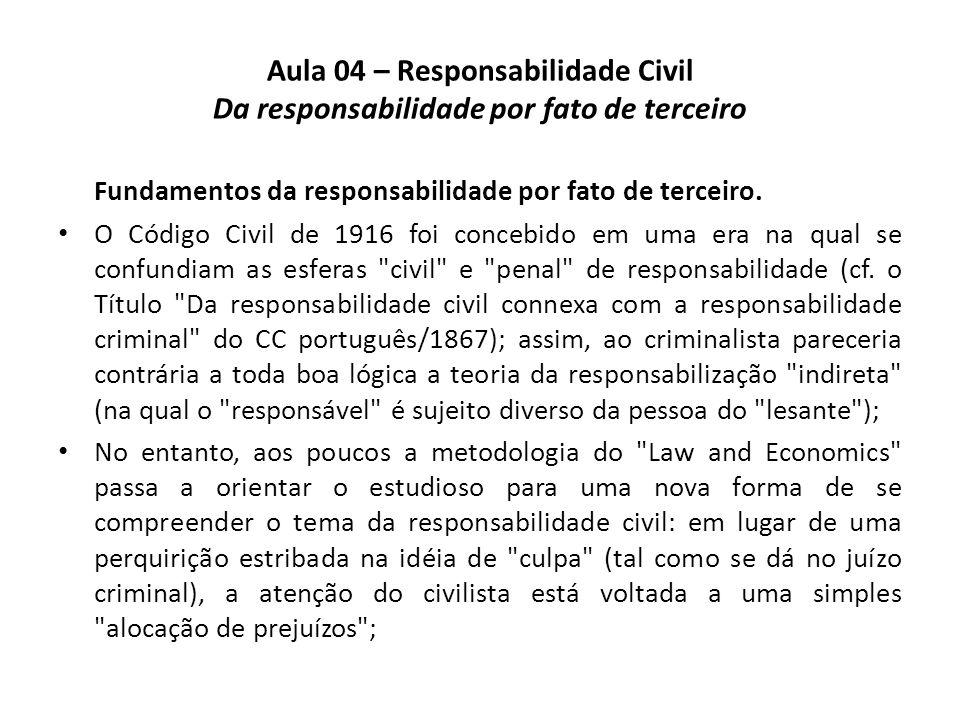 Aula 04 – Responsabilidade Civil Da responsabilidade por fato de terceiro Fundamentos da responsabilidade por fato de terceiro. O Código Civil de 1916
