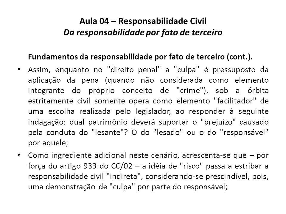 Aula 04 – Responsabilidade Civil Da responsabilidade por fato de terceiro Fundamentos da responsabilidade por fato de terceiro (cont.). Assim, enquant
