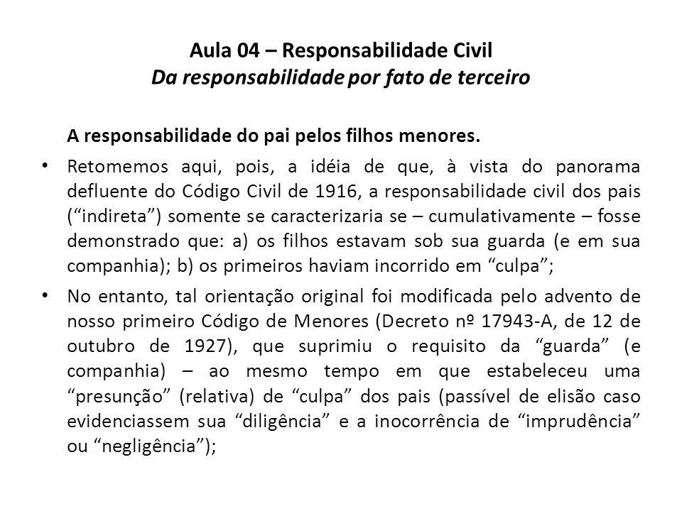 Aula 04 – Responsabilidade Civil Da responsabilidade por fato de terceiro A responsabilidade do pai pelos filhos menores. Retomemos aqui, pois, a idéi