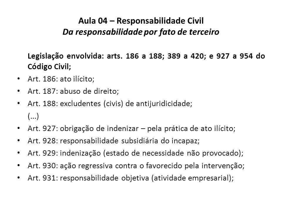 Aula 04 – Responsabilidade Civil Da responsabilidade por fato de terceiro Da responsabilidade dos tutores e curadores (cont.).