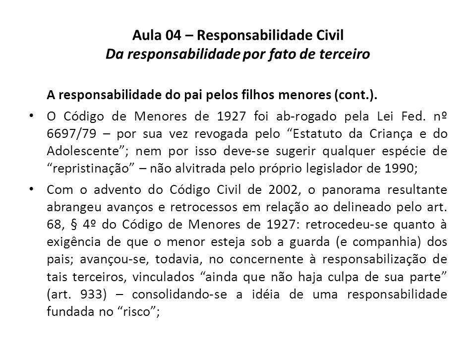 Aula 04 – Responsabilidade Civil Da responsabilidade por fato de terceiro A responsabilidade do pai pelos filhos menores (cont.). O Código de Menores