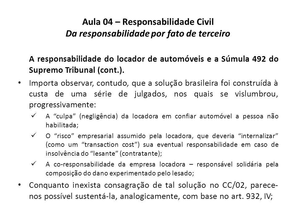 Aula 04 – Responsabilidade Civil Da responsabilidade por fato de terceiro A responsabilidade do locador de automóveis e a Súmula 492 do Supremo Tribun