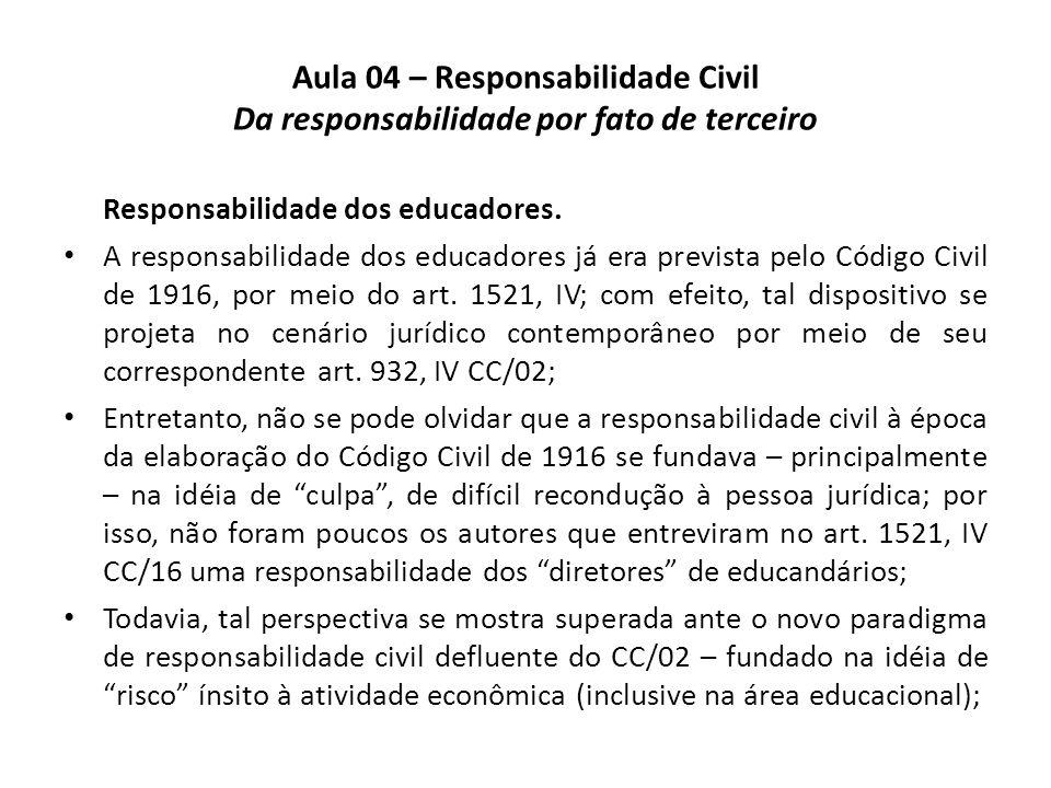 Aula 04 – Responsabilidade Civil Da responsabilidade por fato de terceiro Responsabilidade dos educadores. A responsabilidade dos educadores já era pr