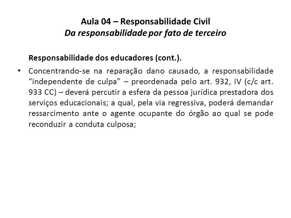 Aula 04 – Responsabilidade Civil Da responsabilidade por fato de terceiro Responsabilidade dos educadores (cont.). Concentrando-se na reparação dano c