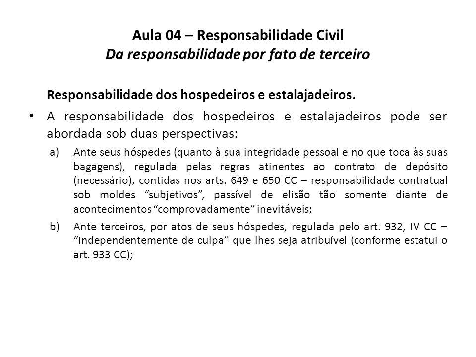 Aula 04 – Responsabilidade Civil Da responsabilidade por fato de terceiro Responsabilidade dos hospedeiros e estalajadeiros. A responsabilidade dos ho