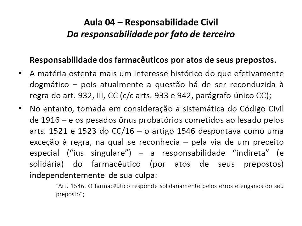 Aula 04 – Responsabilidade Civil Da responsabilidade por fato de terceiro Responsabilidade dos farmacêuticos por atos de seus prepostos. A matéria ost