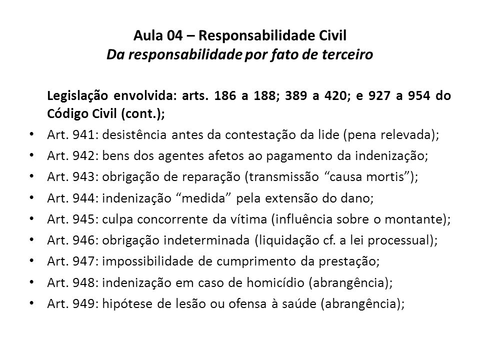 Aula 04 – Responsabilidade Civil Da responsabilidade por fato de terceiro Legislação envolvida: arts. 186 a 188; 389 a 420; e 927 a 954 do Código Civi