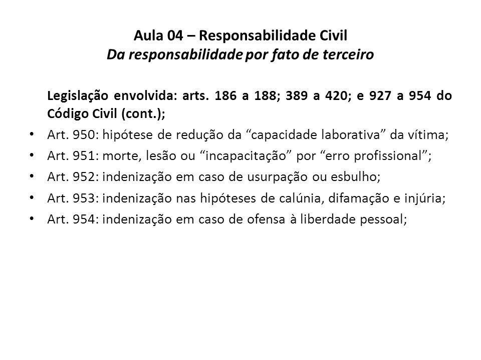 Aula 04 – Responsabilidade Civil Da responsabilidade por fato de terceiro Propositura do problema na vigência do Código Civil de 1916.