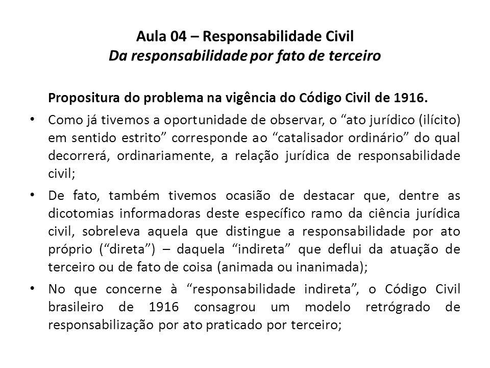 Aula 04 – Responsabilidade Civil Da responsabilidade por fato de terceiro Propositura do problema na vigência do Código Civil de 1916. Como já tivemos