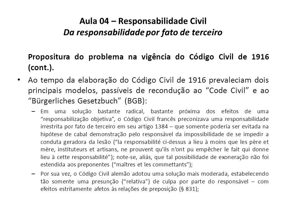 Aula 04 – Responsabilidade Civil Da responsabilidade por fato de terceiro Propositura do problema na vigência do Código Civil de 1916 (cont.). Ao temp