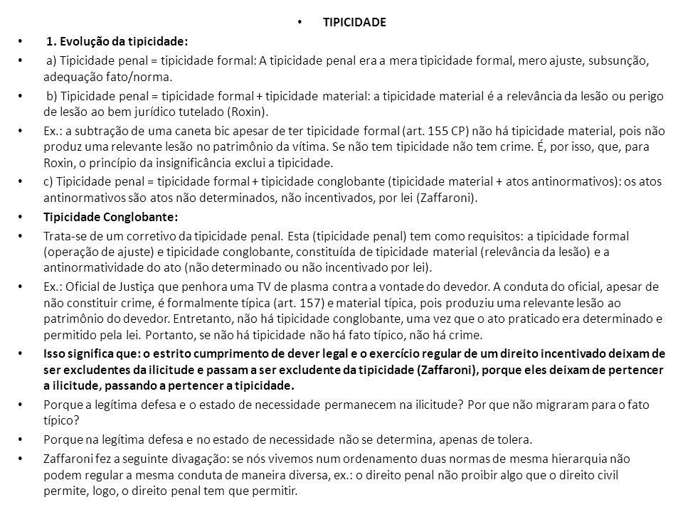 TIPICIDADE 1. Evolução da tipicidade: a) Tipicidade penal = tipicidade formal: A tipicidade penal era a mera tipicidade formal, mero ajuste, subsunção