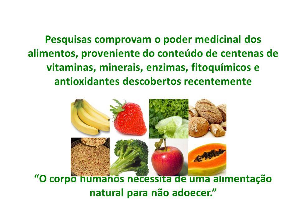 Pesquisas comprovam o poder medicinal dos alimentos, proveniente do conteúdo de centenas de vitaminas, minerais, enzimas, fitoquímicos e antioxidantes