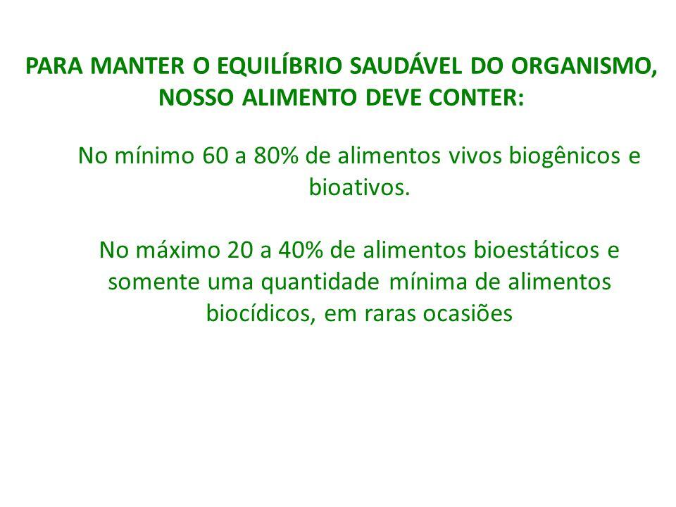 No mínimo 60 a 80% de alimentos vivos biogênicos e bioativos. No máximo 20 a 40% de alimentos bioestáticos e somente uma quantidade mínima de alimento
